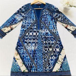 Hale Bob Split Neck 3/4 Sleeve Dress